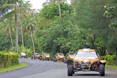 多虫的徒步旅行队冒险游览在拉罗通加库克群岛 库存图片