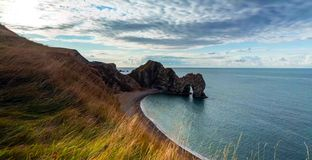 多西特是英格兰西南的一个县在英吉利海峡海岸 库存照片