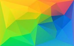 多角形三角彩虹背景、黄色、绿色和蓝色 库存图片