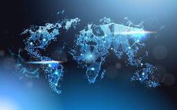 多角形世界地图发光的Wareframe滤网、全球性旅行和国际连接概念 向量例证
