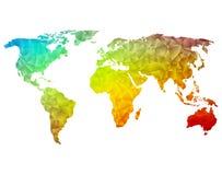 多角形世界地图 免版税图库摄影