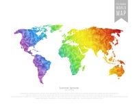多角形世界地图 免版税库存照片
