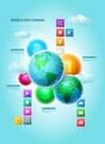 多角形世界Infographic 免版税库存照片