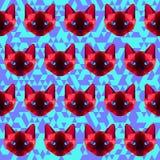 多角形几何抽象暹罗猫无缝的样式backg 免版税库存图片
