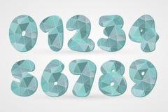 1 2 3 4 5 6 7 8 9 0多角形几何数字 装饰的抽象滑稽的三角标志,构思设计,动画片 图库摄影