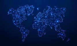 多角形地图 数字地球地图,蓝色多角形接地地图和世界互联网连接3d栅格传染媒介概念 皇族释放例证
