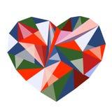 多角形多彩多姿的心脏 免版税库存图片