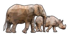 多角形大象和犀牛 库存图片