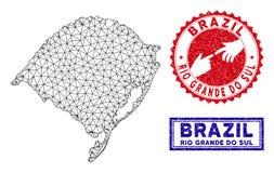 多角形导线框架南里奥格兰德州状态地图和难看的东西邮票 皇族释放例证