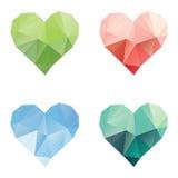 多角形心脏集合 库存照片