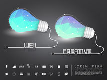 多角形想法和创造性的电灯泡与企业象 免版税库存照片