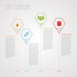 多角形时间安排infographics与象的设计模板 免版税图库摄影