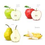 多角形果子-绿色苹果,红色苹果,梨,香蕉 向量我 免版税库存照片