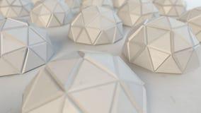 多角形白色金属半球3D翻译 库存例证