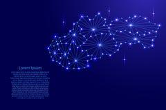 多角形马赛克斯洛伐克地图排行网络,光芒,传染媒介例证空间星  皇族释放例证