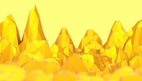 多角形马赛克背景 低多山风景 免版税库存照片