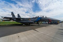多角色战斗机,罢工战斗机麦克当诺道格拉斯公司F-15E罢工老鹰 美国空军队 库存照片
