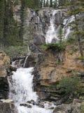 多重瀑布在贾斯珀国家公园 库存照片