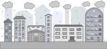 多雨城市的传染媒介图画 免版税图库摄影