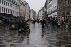 多雨天气在哥本哈根 免版税库存图片