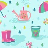 多雨天气无缝的样式 免版税库存图片