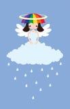 多雨天气的天使 免版税库存照片