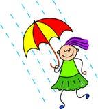 多雨日的孩子 免版税库存照片