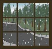 多雨视窗 免版税库存照片