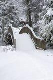 多雪人行桥的横向 库存图片