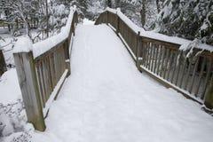 多雪人行桥的横向 免版税图库摄影