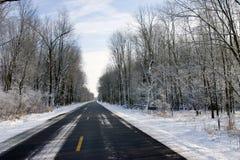 多雪冷的乡下公路 库存图片
