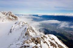 多雪因斯布鲁克的山 免版税图库摄影