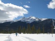 多雪国家(地区)交叉高峰的滑雪者 免版税库存照片