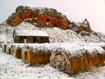 多雪客舱的农场 库存图片