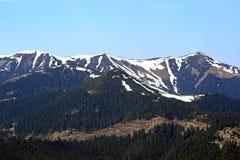 多雪山的土坎 免版税库存照片