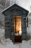 多雪日的外屋 库存照片