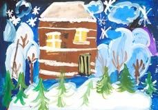 多雪森林的房子 免版税库存图片