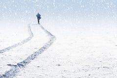 多雪横向的人 免版税图库摄影