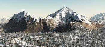 多雪横向的山 免版税库存图片
