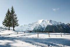 多雪横向的山 库存图片