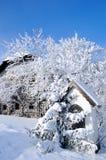 多雪的农场 图库摄影
