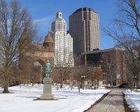 多雪的城市 免版税图库摄影