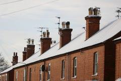 多雪的屋顶 免版税库存图片