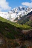 多雪的山峰在国家公园Daisetsuzan 库存照片
