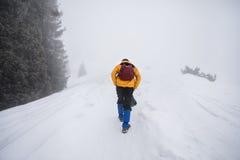 多雪的山的游人 免版税库存照片