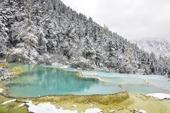多雪的山的蓝绿色池塘 免版税库存图片