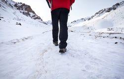 多雪的山的远足者 免版税库存照片