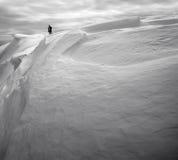 多雪的山腰 库存照片
