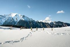 多雪的山风景  图库摄影