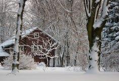 多雪的房子 库存图片